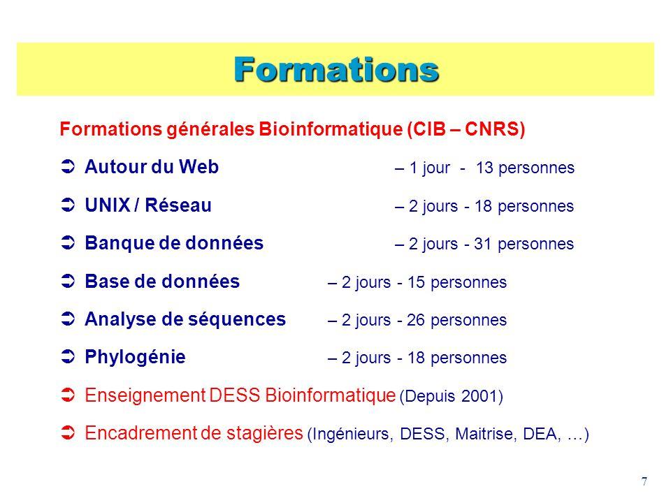Formations Formations générales Bioinformatique (CIB – CNRS)