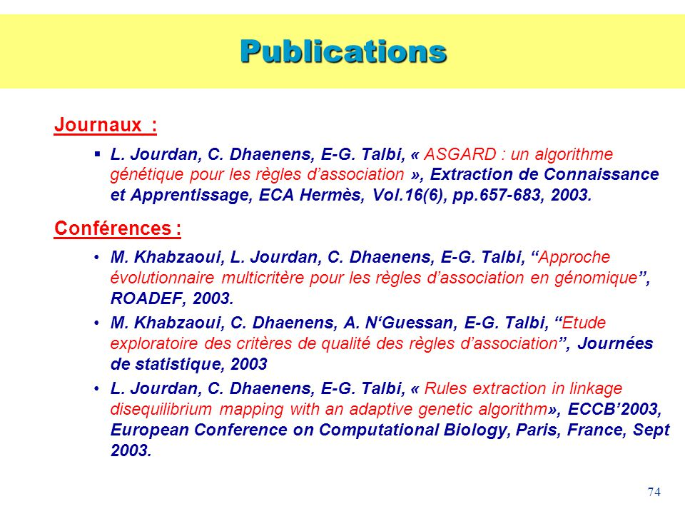 Publications Journaux : Conférences :