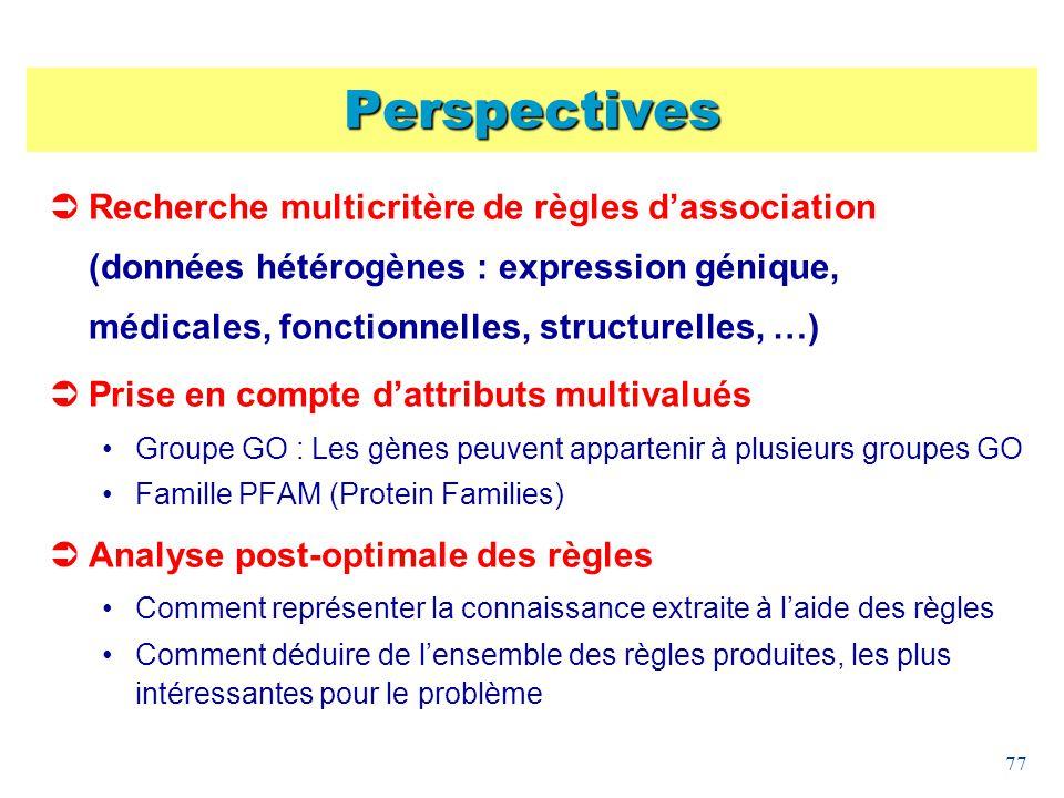 Perspectives Recherche multicritère de règles d'association (données hétérogènes : expression génique, médicales, fonctionnelles, structurelles, …)