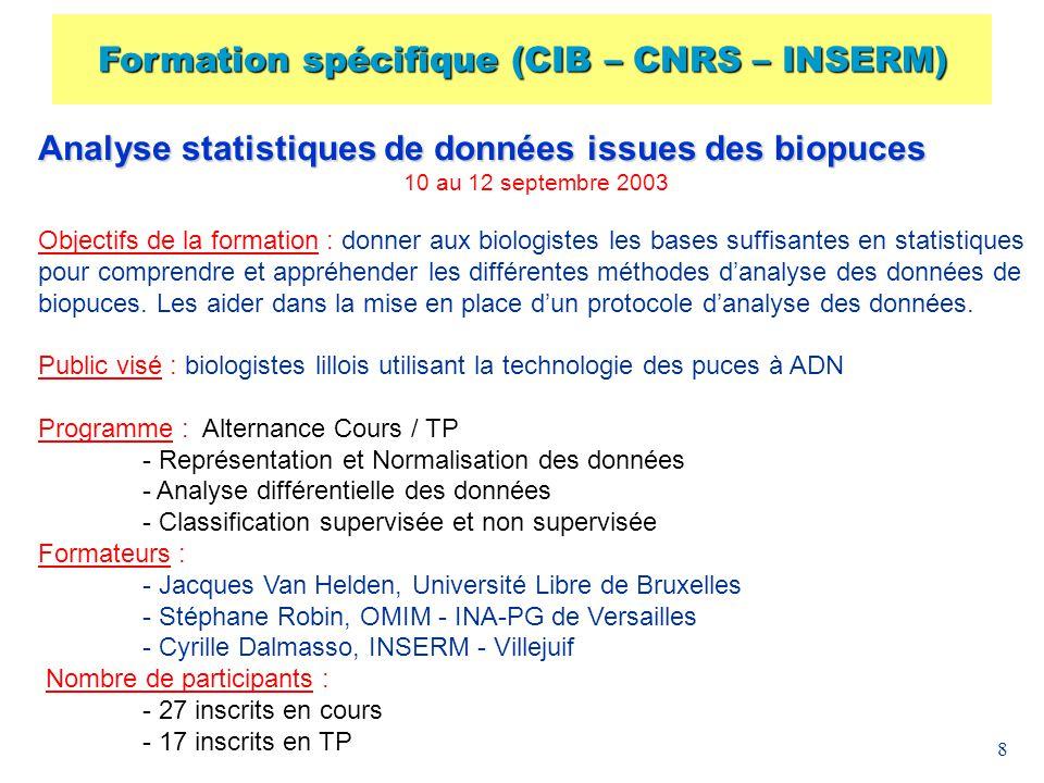 Formation spécifique (CIB – CNRS – INSERM)