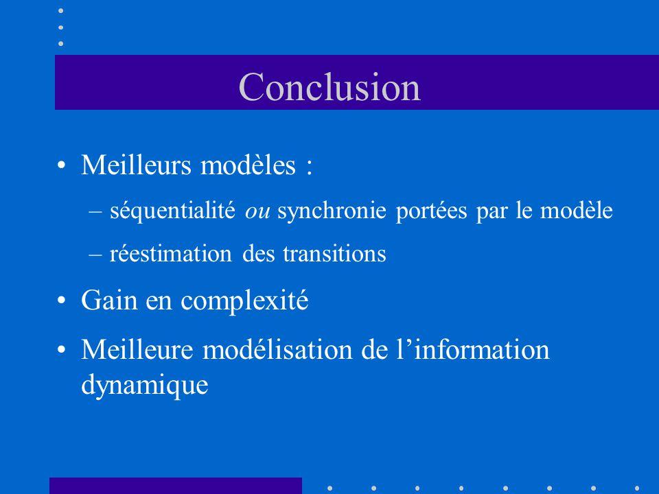 Conclusion Meilleurs modèles : Gain en complexité