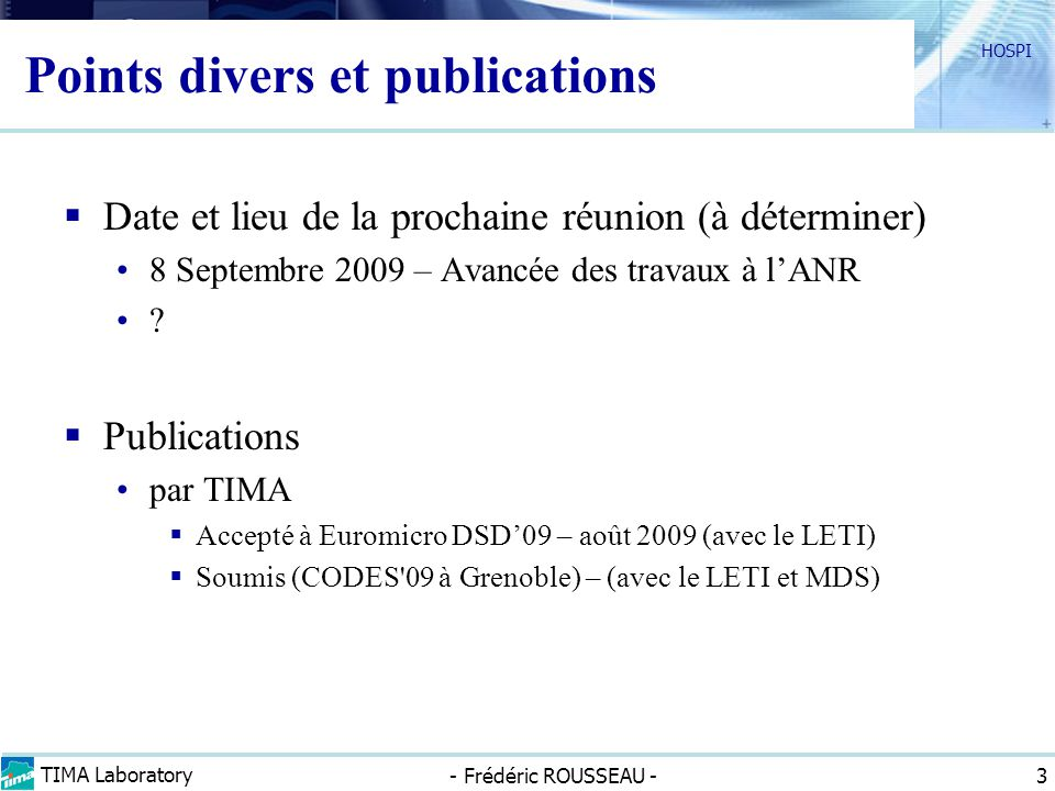 Points divers et publications