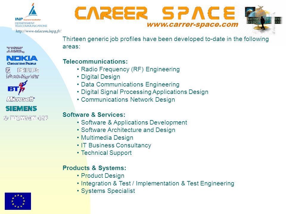 www.carrer-space.com Thirteen generic job profiles have been developed to-date in the following areas:
