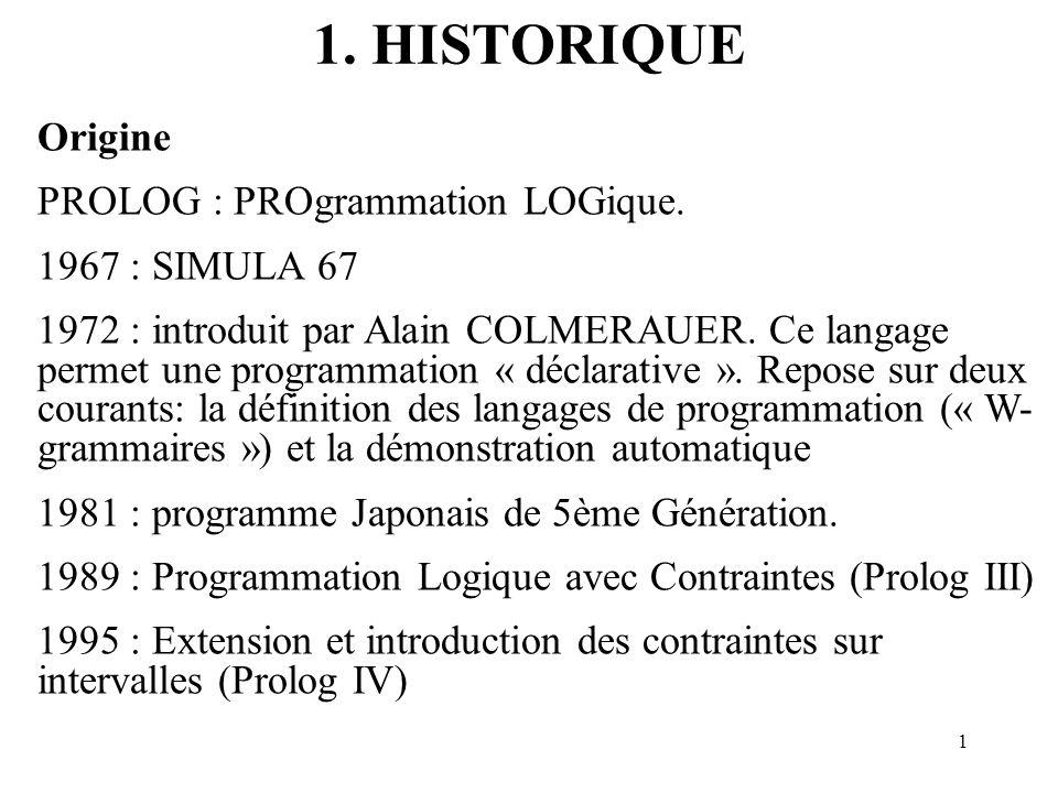 1. HISTORIQUE Origine PROLOG : PROgrammation LOGique. 1967 : SIMULA 67