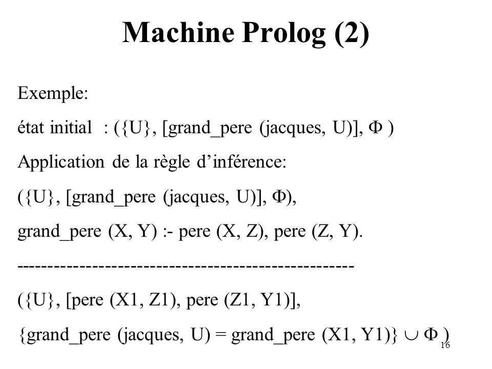 Machine Prolog (2) Exemple: