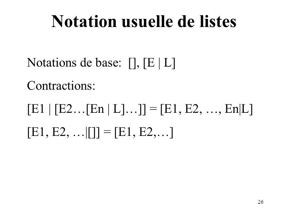 Notation usuelle de listes