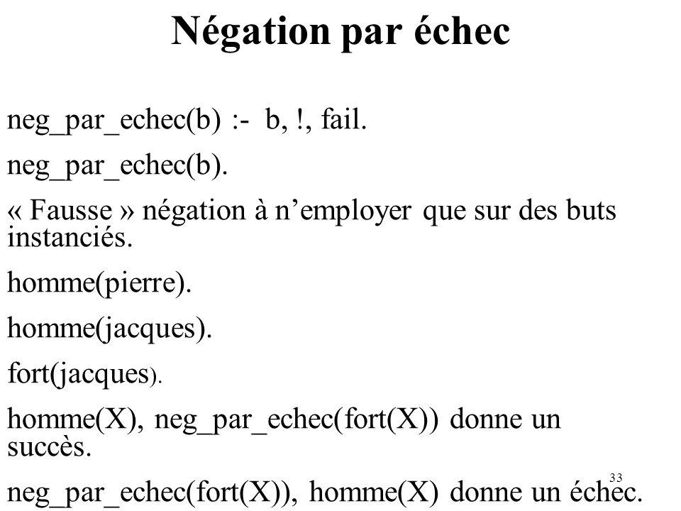Négation par échec neg_par_echec(b) :- b, !, fail. neg_par_echec(b).