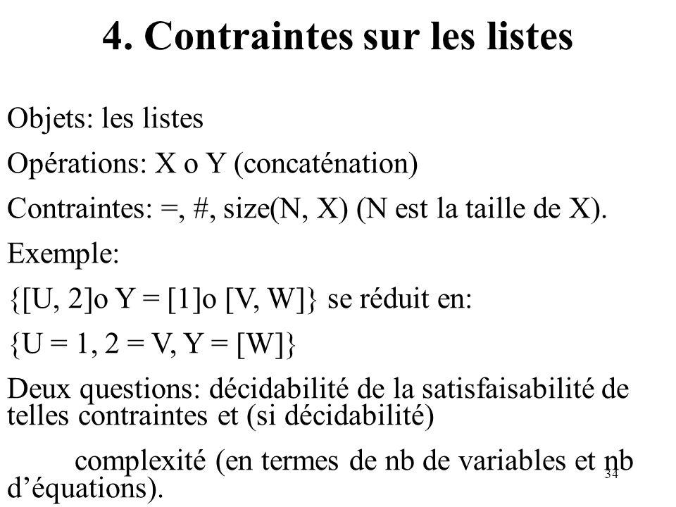 4. Contraintes sur les listes
