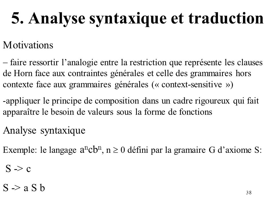 5. Analyse syntaxique et traduction
