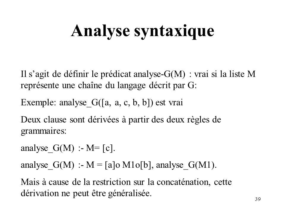 Analyse syntaxique Il s'agit de définir le prédicat analyse-G(M) : vrai si la liste M représente une chaîne du langage décrit par G:
