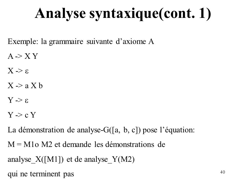 Analyse syntaxique(cont. 1)