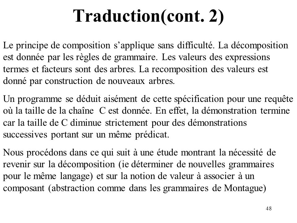 Traduction(cont. 2)