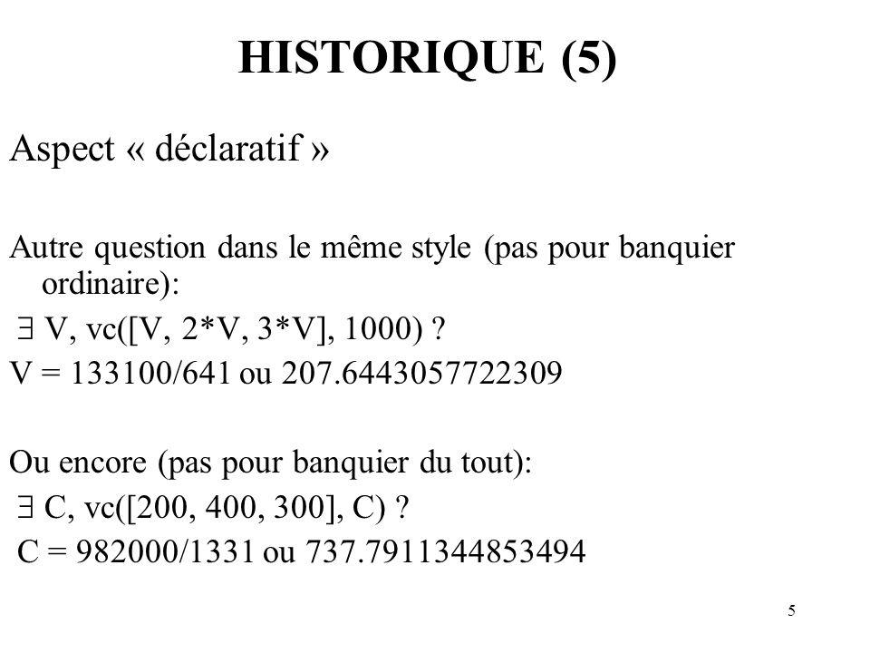 HISTORIQUE (5) Aspect « déclaratif »