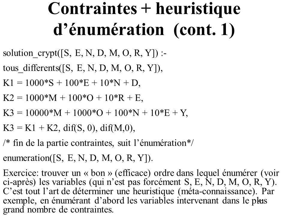 Contraintes + heuristique d'énumération (cont. 1)