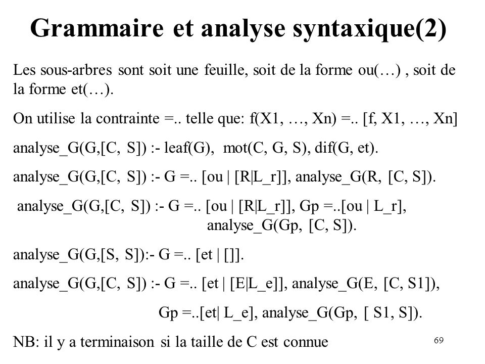 Grammaire et analyse syntaxique(2)