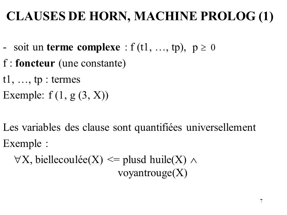CLAUSES DE HORN, MACHINE PROLOG (1)