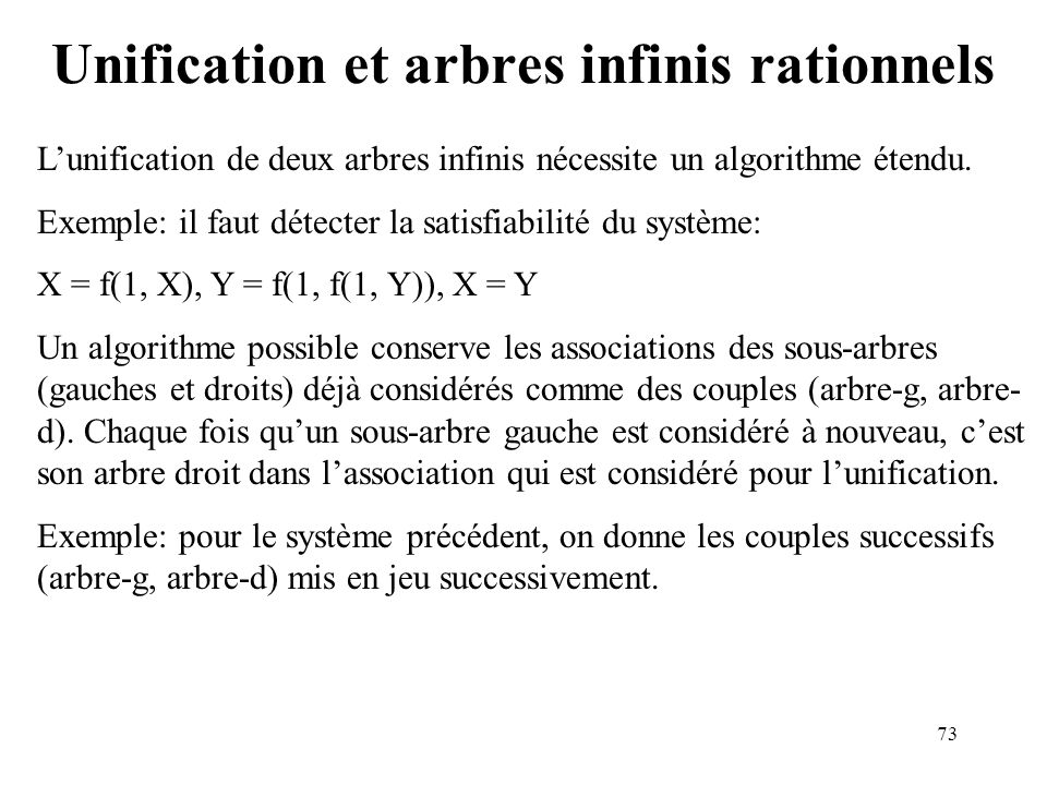 Unification et arbres infinis rationnels