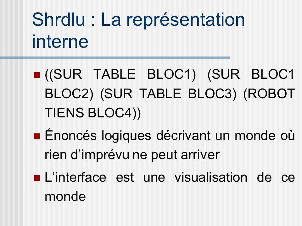 Shrdlu : La représentation interne