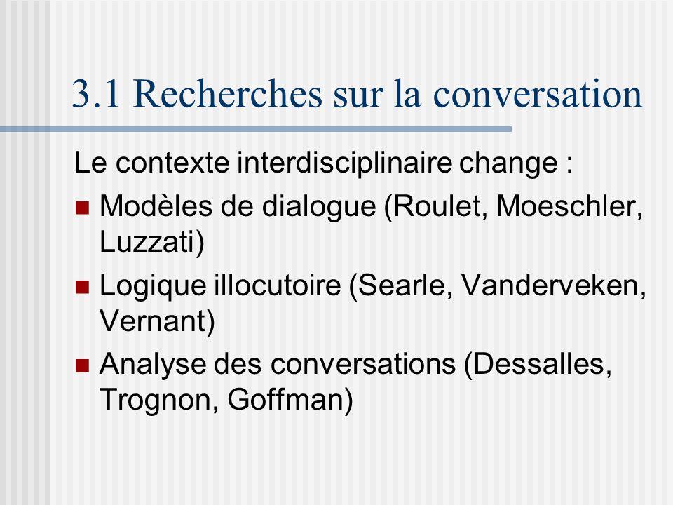 3.1 Recherches sur la conversation