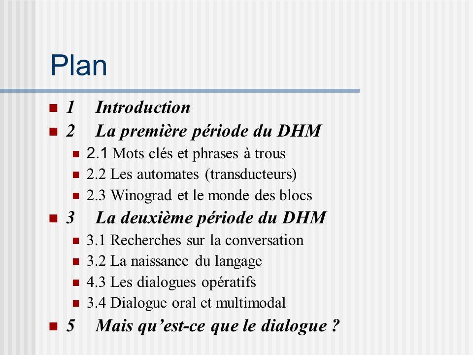 Plan 1 Introduction 2 La première période du DHM