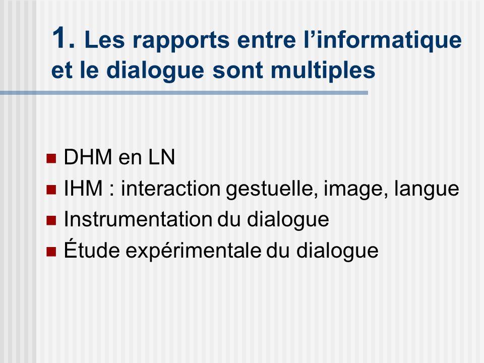 1. Les rapports entre l'informatique et le dialogue sont multiples