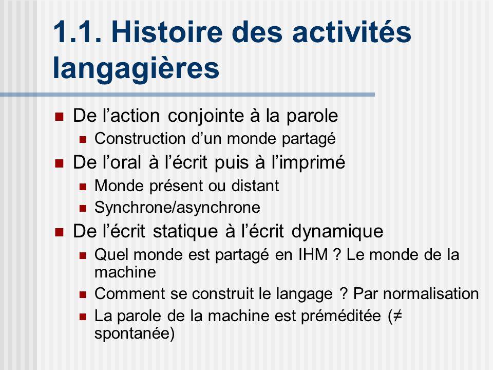 1.1. Histoire des activités langagières