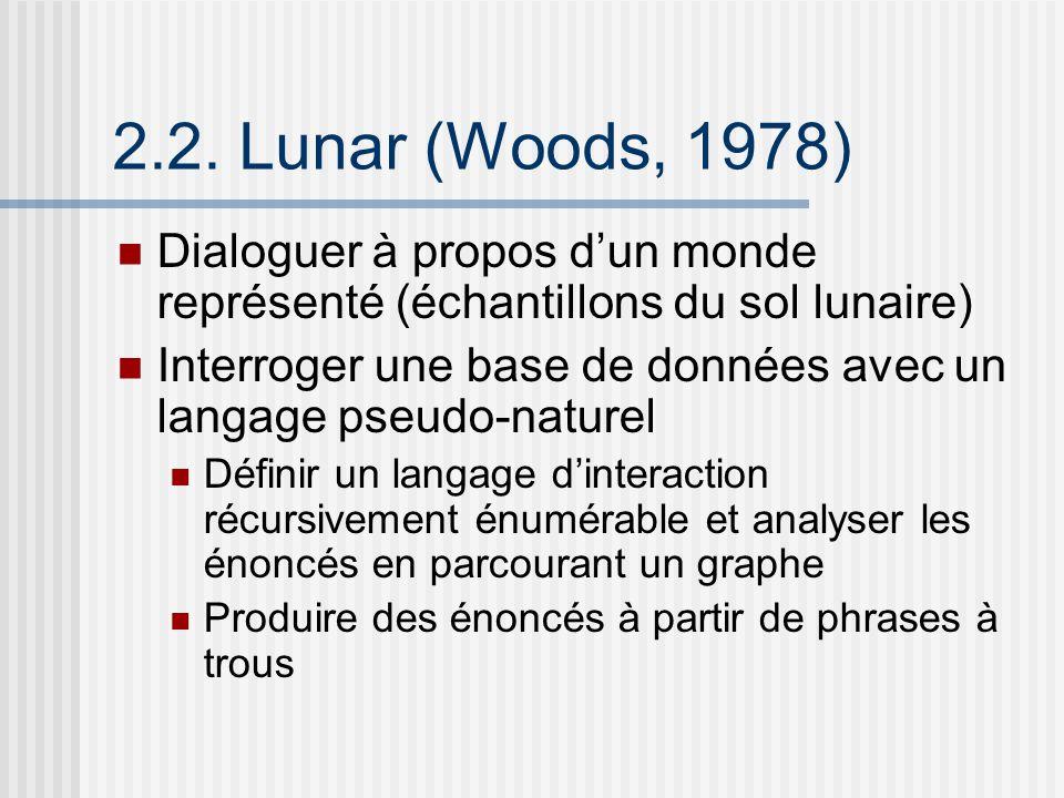 2.2. Lunar (Woods, 1978) Dialoguer à propos d'un monde représenté (échantillons du sol lunaire)