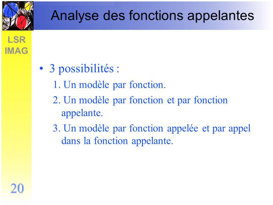 Analyse des fonctions appelantes