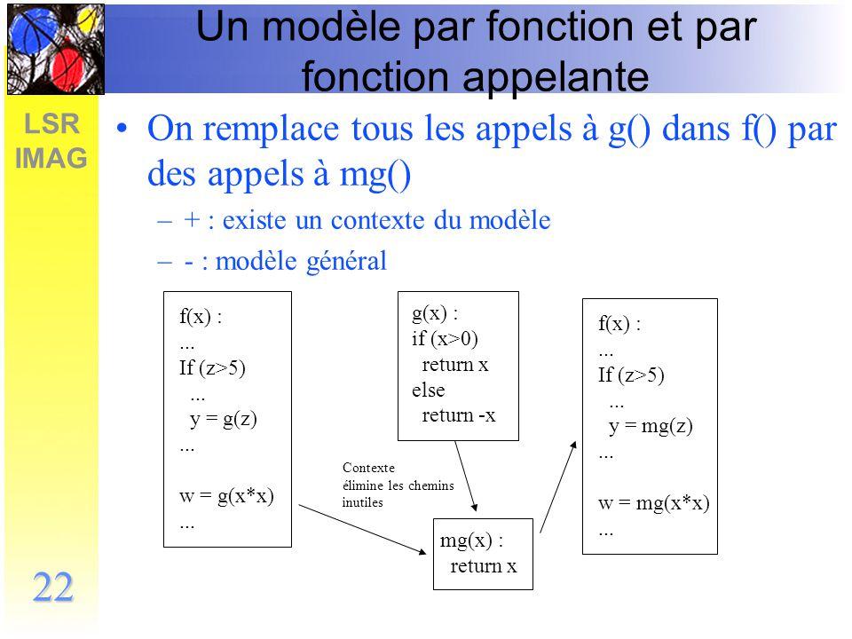 Un modèle par fonction et par fonction appelante