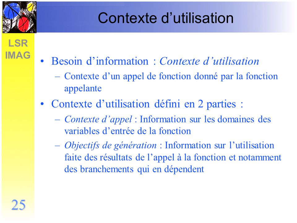 Contexte d'utilisation
