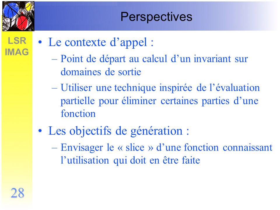 Les objectifs de génération :