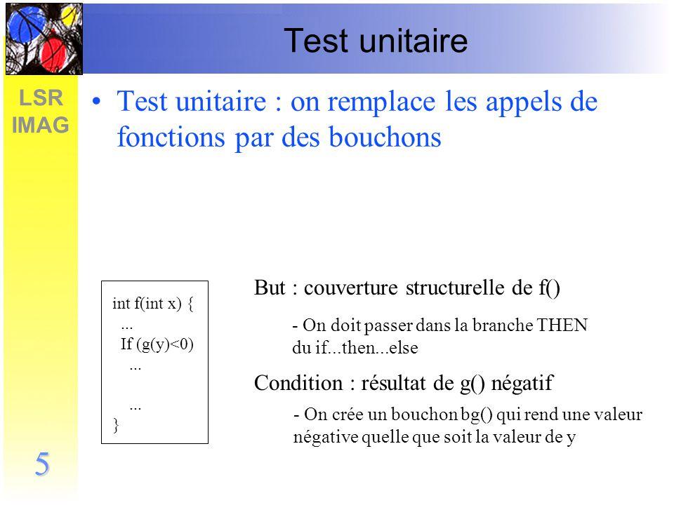 Test unitaire Test unitaire : on remplace les appels de fonctions par des bouchons. But : couverture structurelle de f()