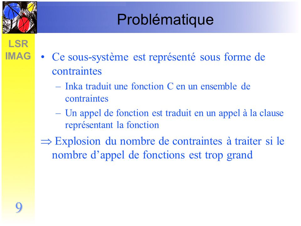 Problématique Ce sous-système est représenté sous forme de contraintes