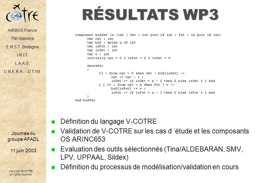 RÉSULTATS WP3 Définition du langage V-COTRE