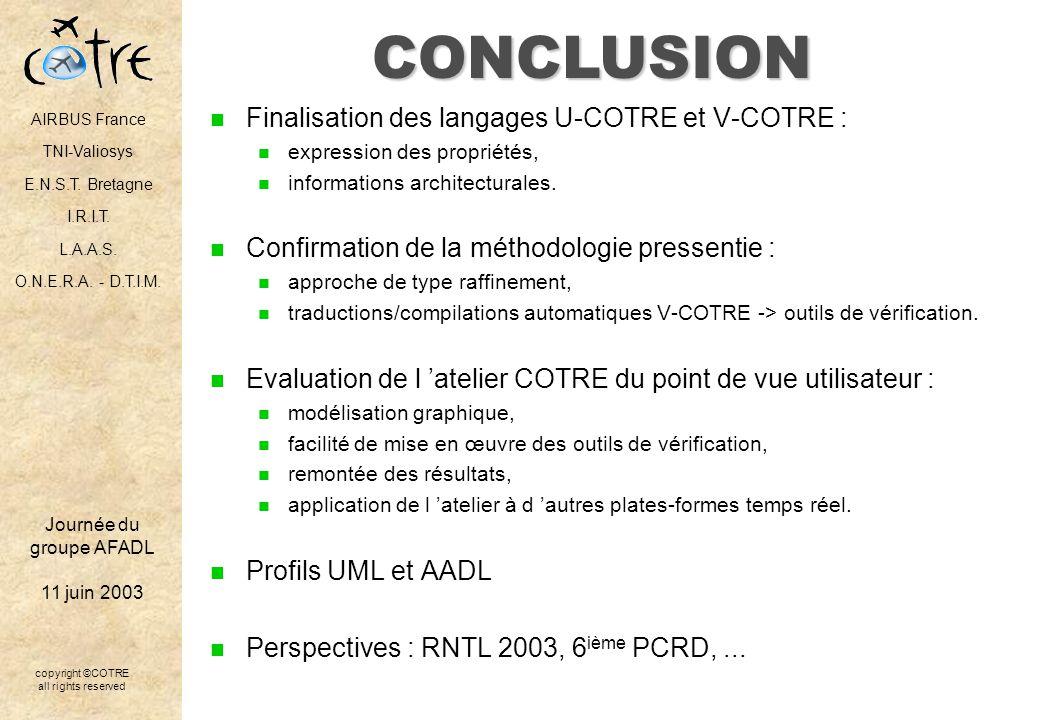 CONCLUSION Finalisation des langages U-COTRE et V-COTRE :