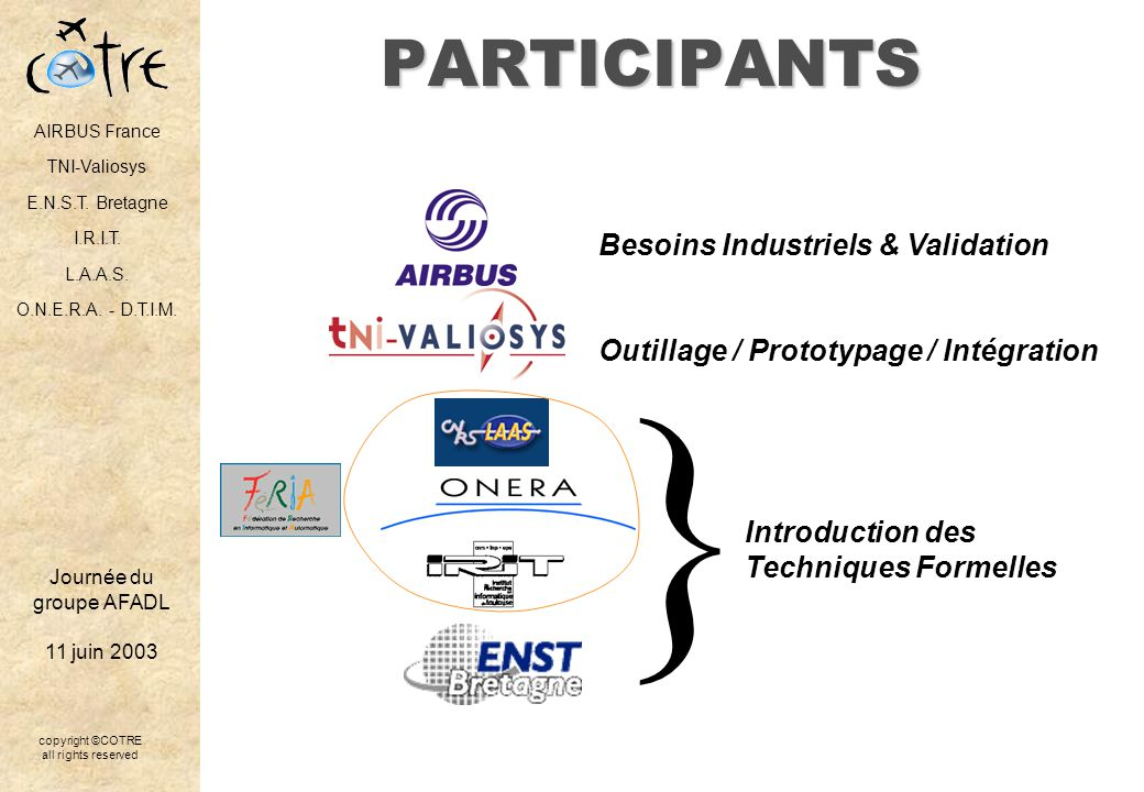 } PARTICIPANTS Besoins Industriels & Validation