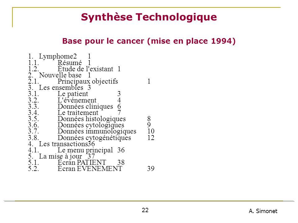 Synthèse Technologique Base pour le cancer (mise en place 1994)