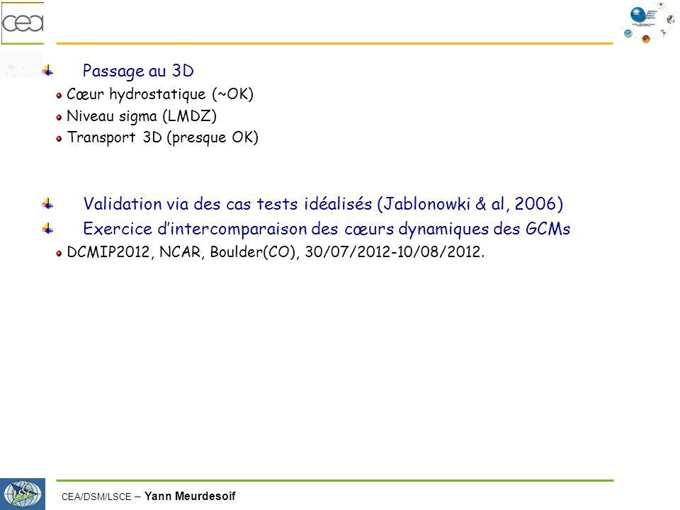 Validation via des cas tests idéalisés (Jablonowki & al, 2006)