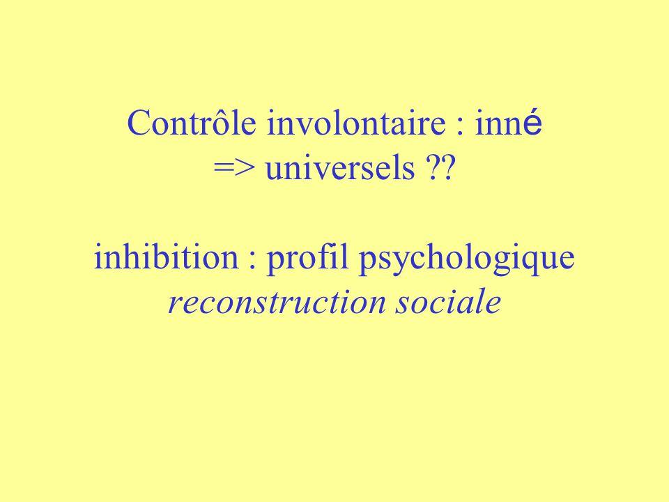 Contrôle involontaire : inné => universels