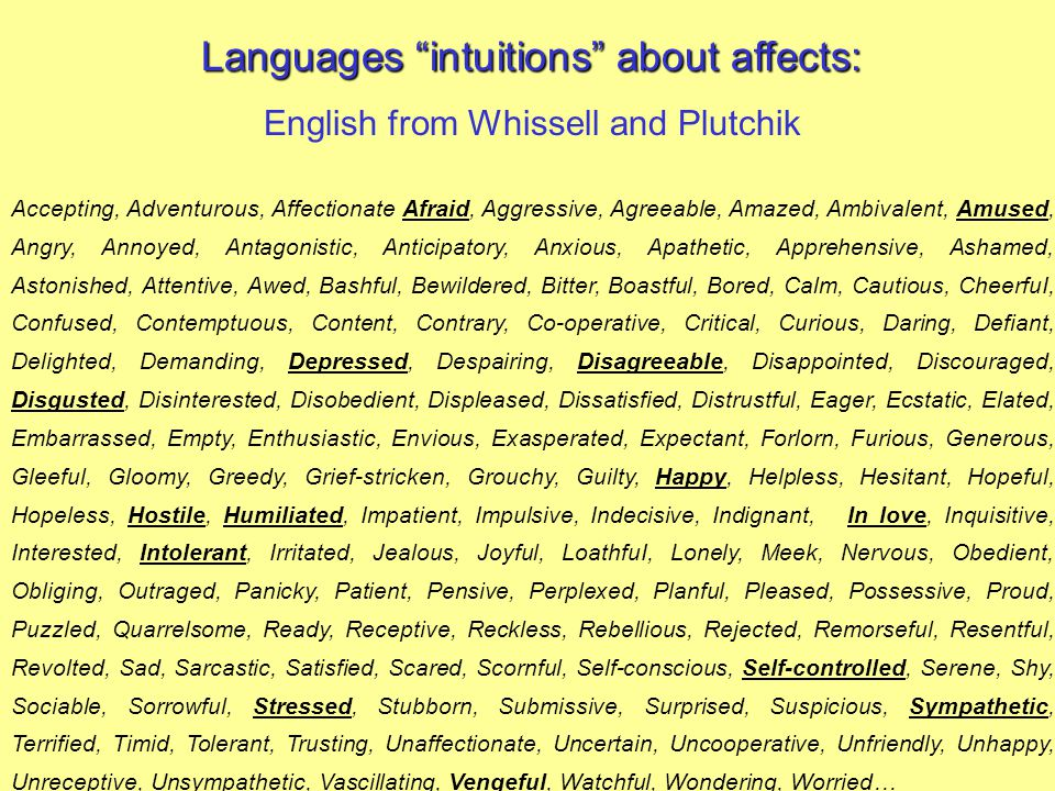 Languages intuitions about affects:
