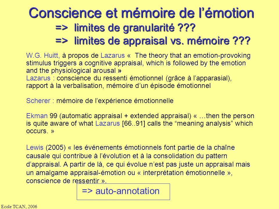 Conscience et mémoire de l'émotion