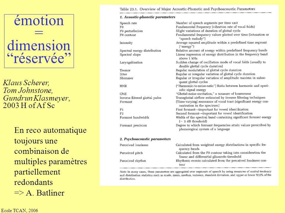 émotion = dimension réservée En reco automatique