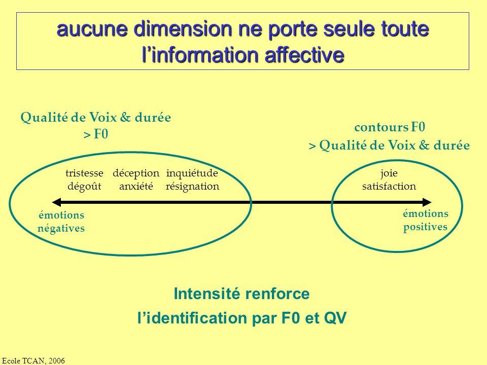 aucune dimension ne porte seule toute l'information affective