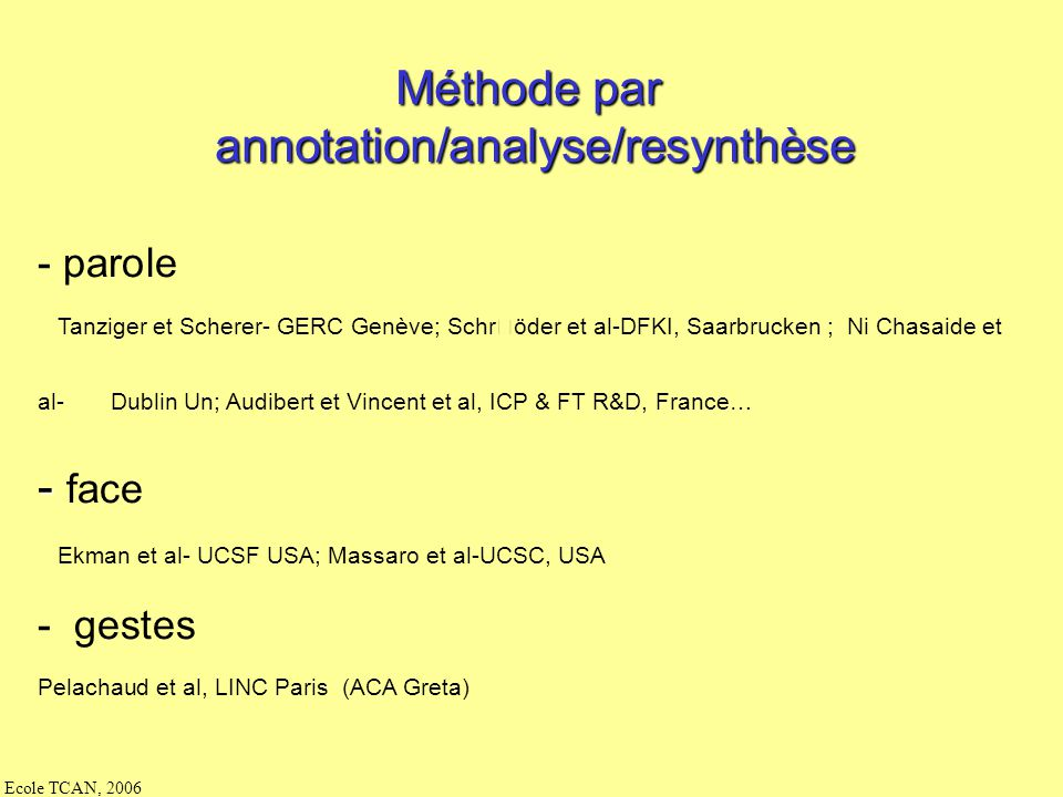 annotation/analyse/resynthèse