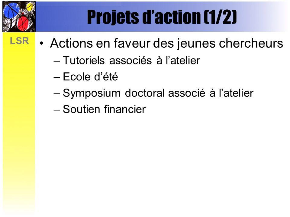 Projets d'action (1/2) Actions en faveur des jeunes chercheurs