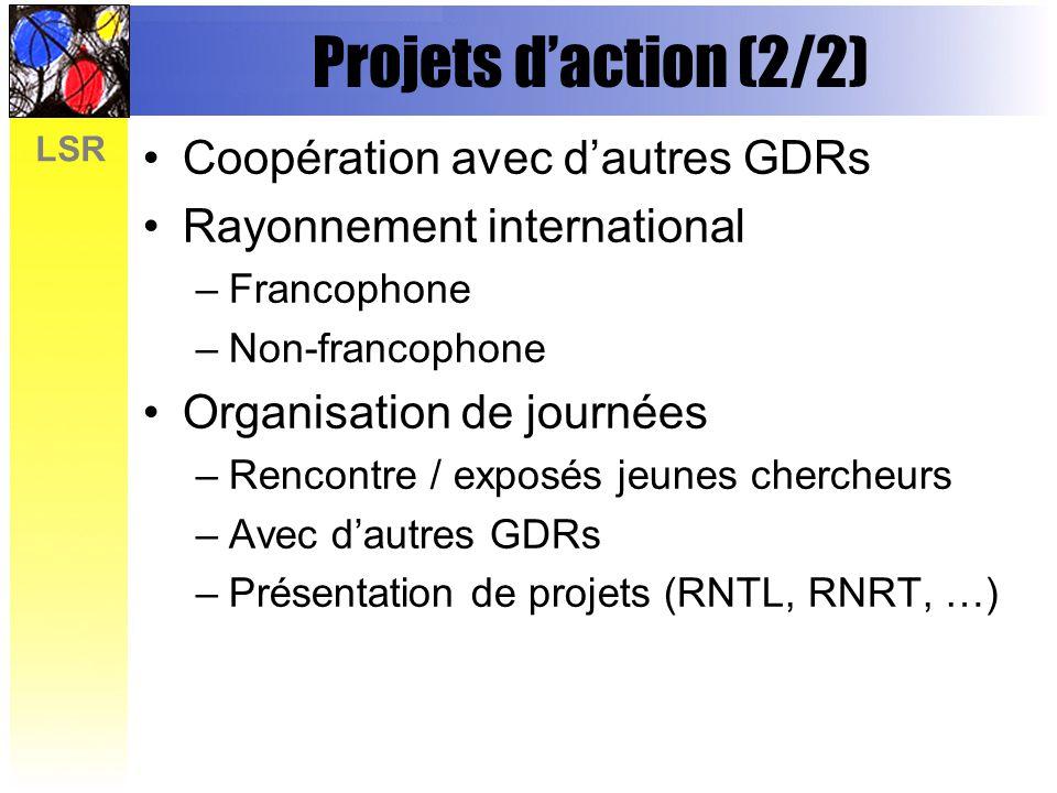 Projets d'action (2/2) Coopération avec d'autres GDRs