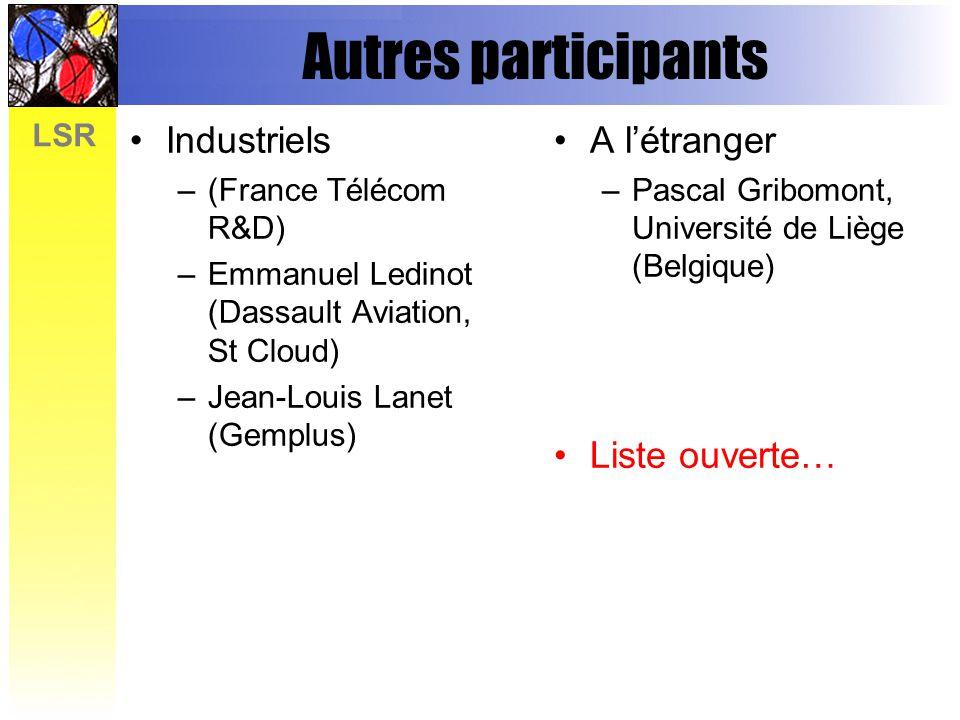 Autres participants Industriels A l'étranger Liste ouverte…