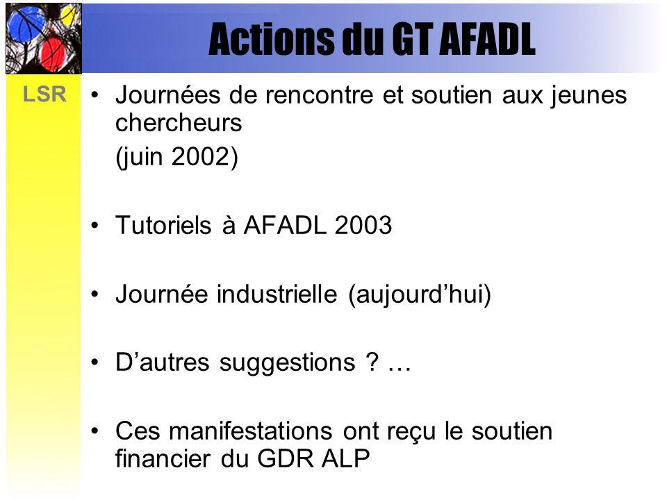 Actions du GT AFADL Journées de rencontre et soutien aux jeunes chercheurs. (juin 2002) Tutoriels à AFADL 2003.
