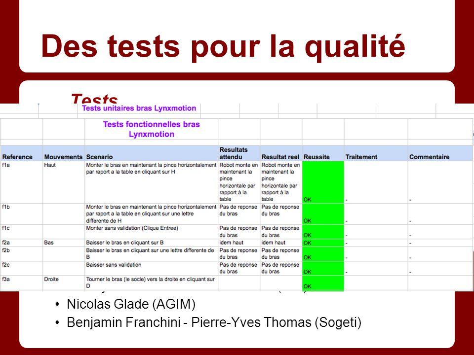 Des tests pour la qualité