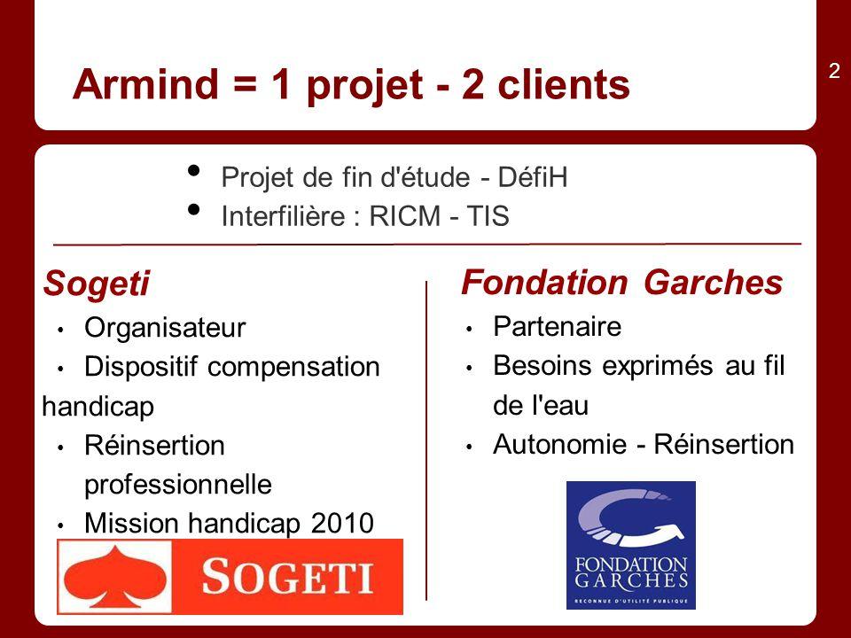 Armind = 1 projet - 2 clients